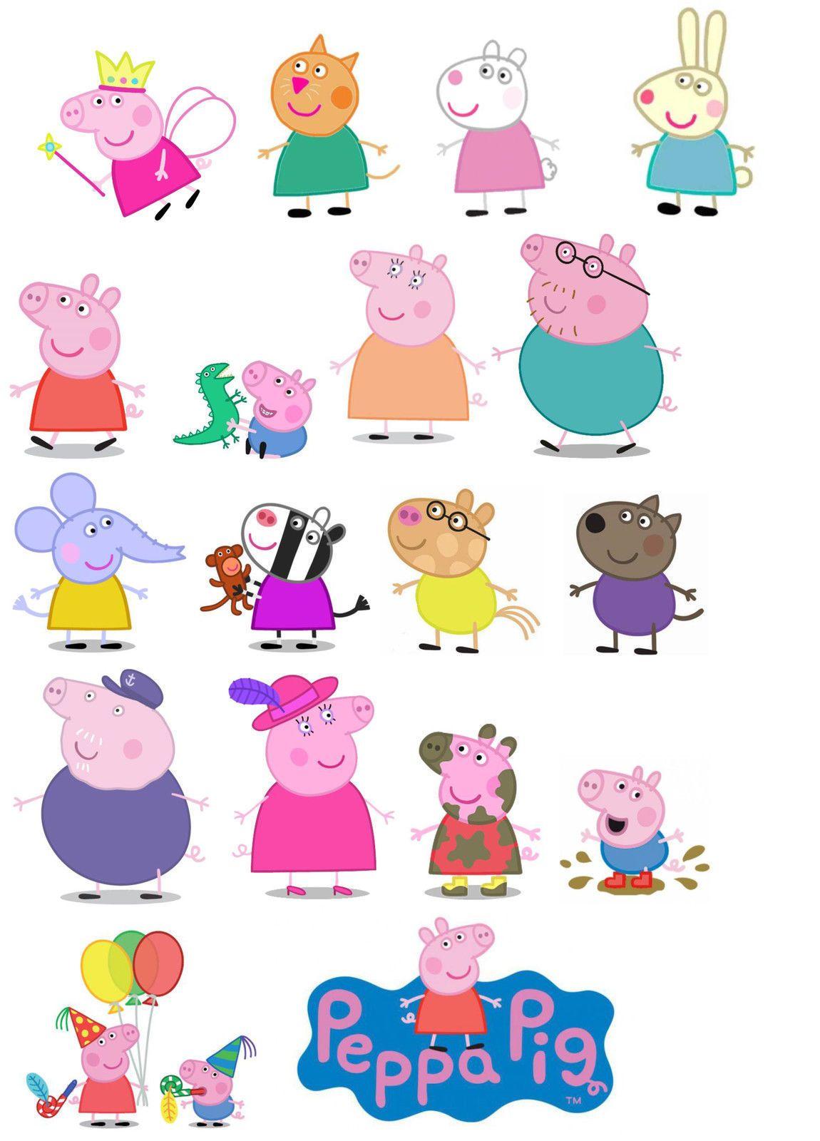 Peppa Pig Edible Wafer Card Cake Topper Scene